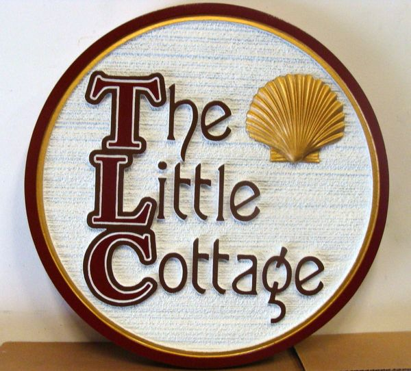 """L21528 - """"The Little Cottage"""" Carved and Sandblasted Property Sign, with 3-D Clam Shell"""