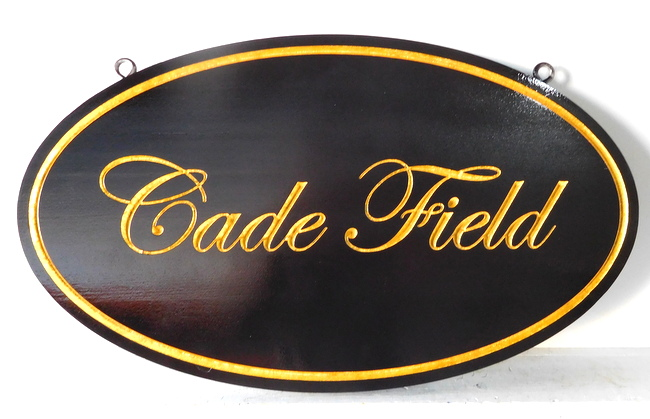 "I18109 - Engraved HDU Property Name Sign ""Cade Field"", with 24K Gold-Leafed Tex"