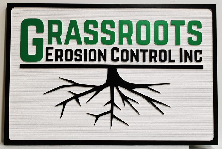 S28174 - Carved and Sandblasted Wood Grain Sign  for Grassroots Erosion Control, Inc, with Logo as Artwork