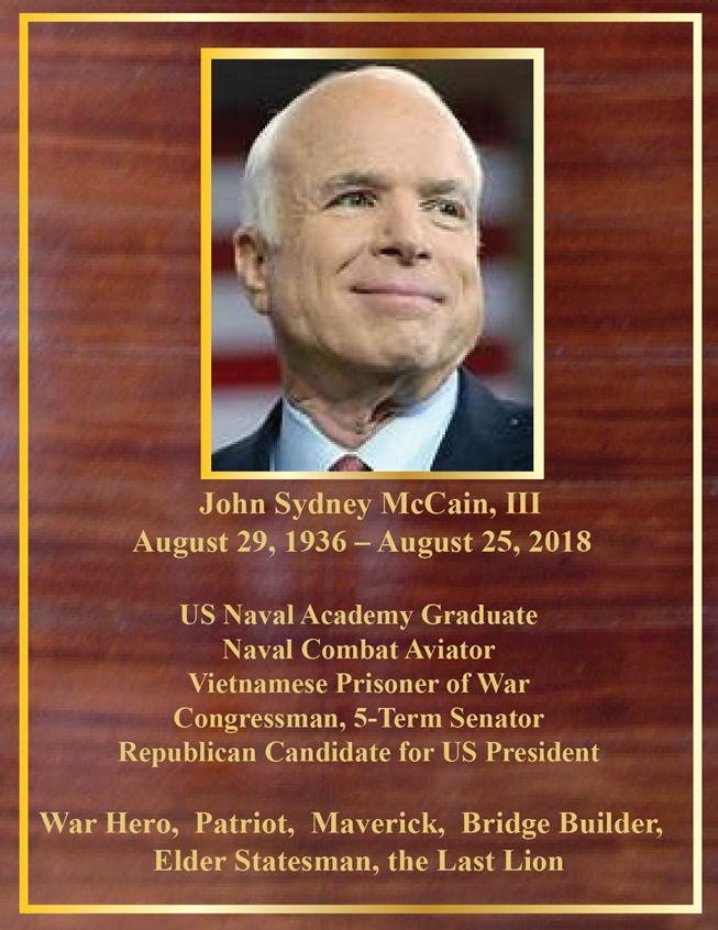 ZP-4020 - Memorial Plaque Honoring Senator John McCain,  Mahogany Plaque with Giclee Photo