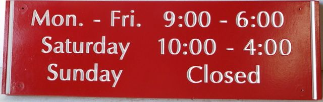 SA28063- Engraved Sign for Business Hours