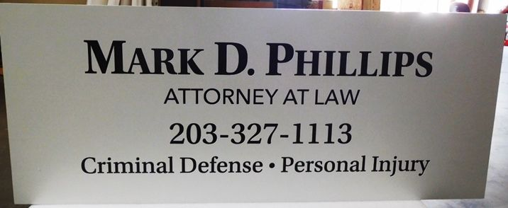 "A10429 - Engraved Aluminum-Plate Sign for""Mark D. Phillips, Attorney-At-Law"""