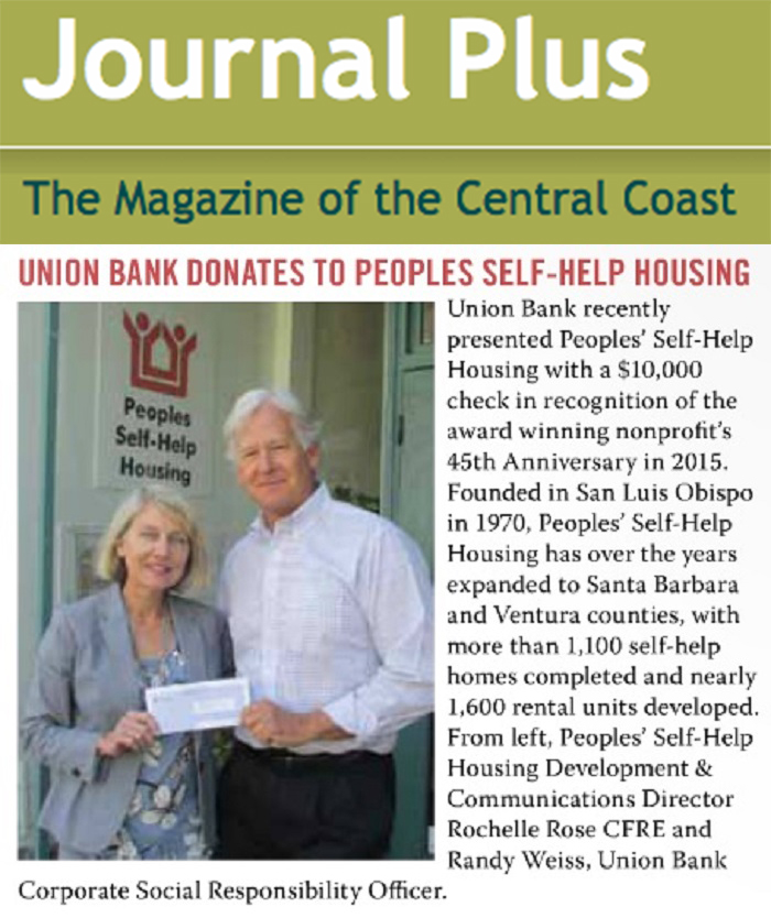 Union Bank Donates to Peoples Self-Help Housing - Journal Plus San Luis Obispo