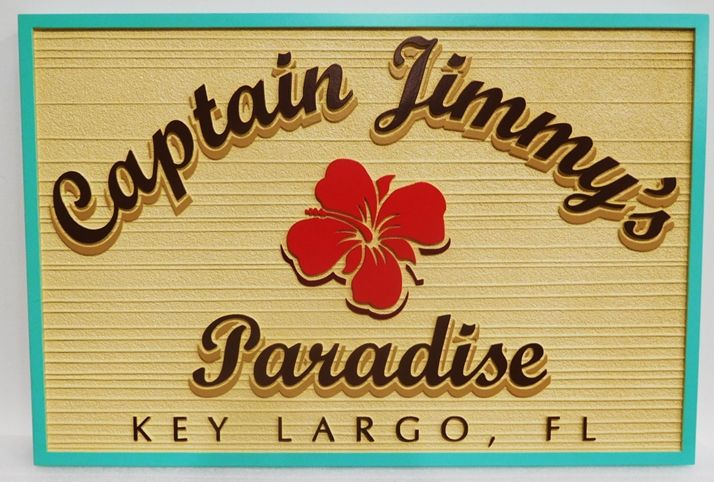 """L21818 -  Carved and Sandblasted Sign """"Captain Jimmy's Paradise""""  for a coastal Residence in Key Largo, Florida, with Flower Blossom"""