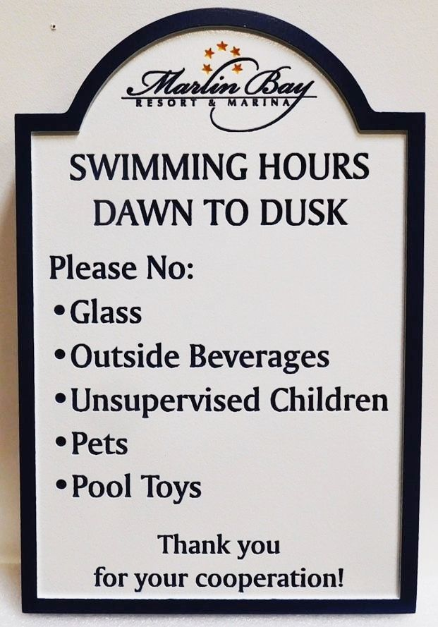 GB16275 - Engraved High-Density-Urethane (HDU) Swimming PoolRules Sign for the Marlin Bay Resort & Marina.