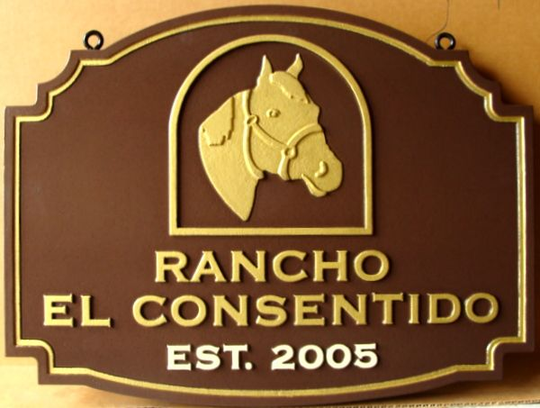 024202 – Carved  Property Sign for Rancho El Consentido , with Horse Head