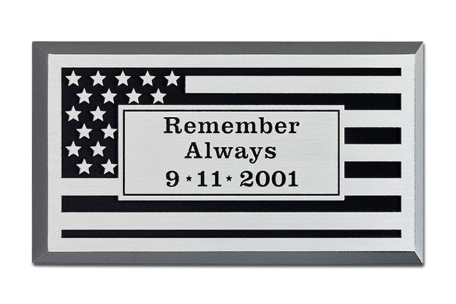 M7548 -   Precision Machined Aluminum  9-11 Memorial  Plaque, with US Flag