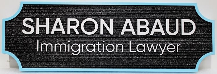 A10519 - Carved and SandblastedWood Grain Sign for Sharon Abaud, Immigration Lawyer