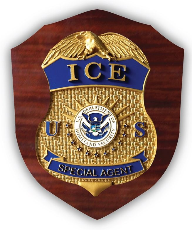 EA-2040 - Badge of the Immigration & Customs Enforcement (ICE) Mounted on Mahogany Plaque.