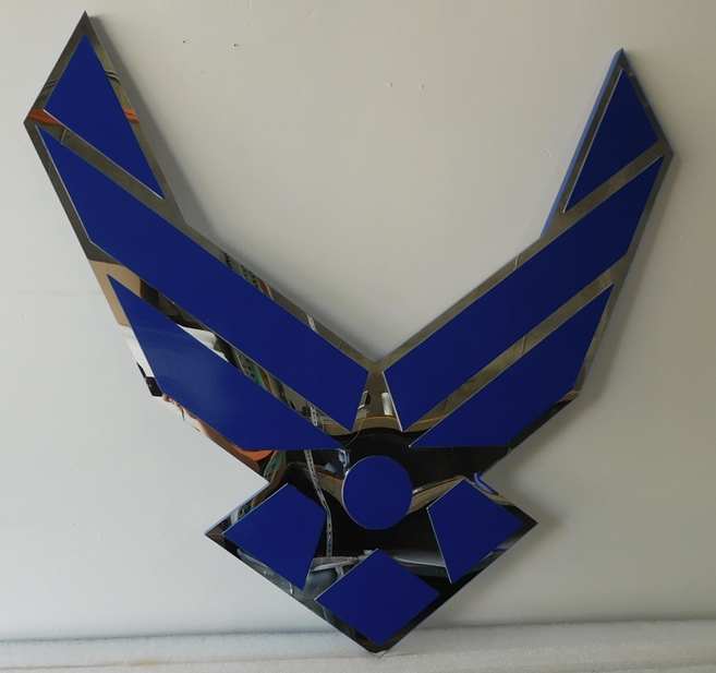 LP-1170 - Carved WIngs Emblem of the US Air Force, Mirror Acrylic Background