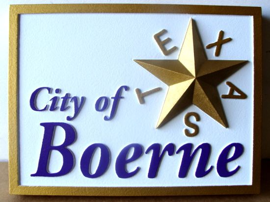 F15220 - Carved HDU Entrance Sign for the City of Boerne with (2.5 D) raised lettering and 3D applique of a star.