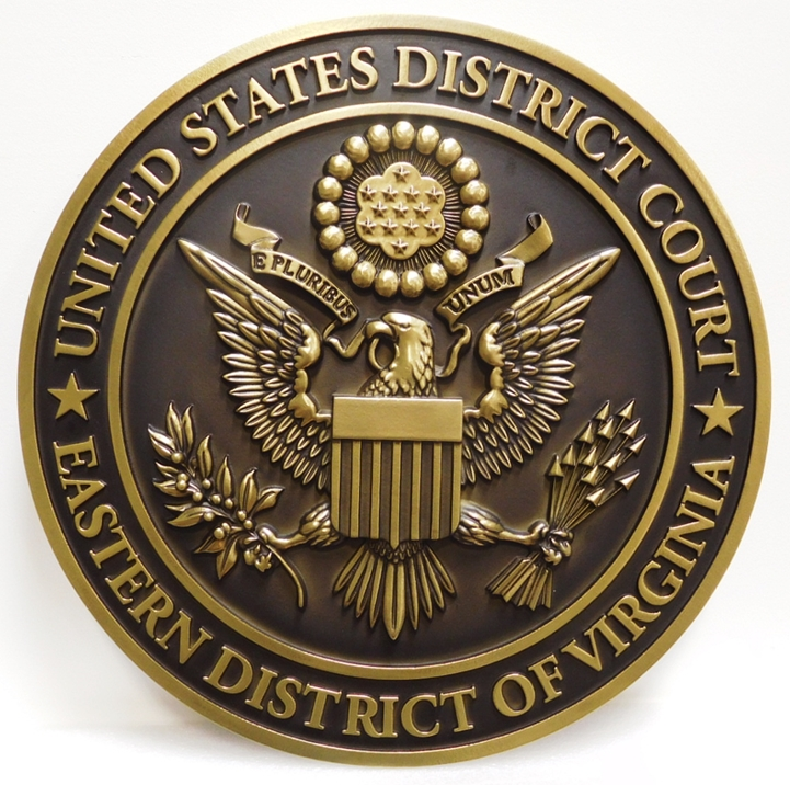 FP-1216 - Carved Plaque of the Seal of  the US District Court of the Eastern District of Virginia, 3-D Brass-plated