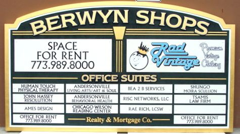 S28011A - Carved HDU Directory Sign with 16 Smaller Signs,  for Shopping Center or Strip Mall