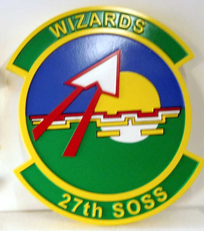 "LP-3740 - Carved Round Plaque of the Crest of the 27th Special Operations Squadron ""Wizards"", Artist Painted"