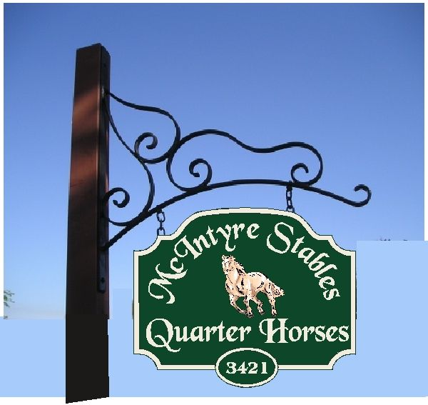 P25129 - Carved HDU Double-Faced Entrance Sign Hanging From Wrought Iron Scroll Bar for McIntyre Stables Quarter Horses