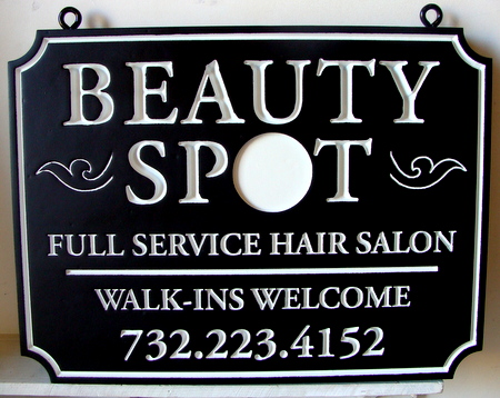 "SA28427 - Carved Engraved ""Beauty Spot""  Hair Salon Sign"