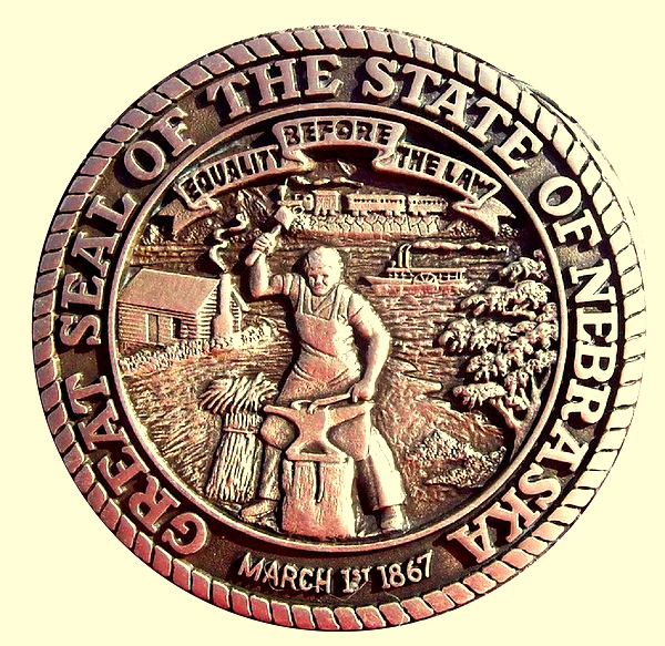 W32332 - Carved HDU 3D Wall Plaque of the Seal of the State of Nebraska, Bronze Coated with High Polish