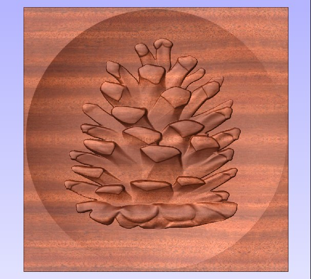 M3980 - Carved Stained Redwood Pinecone