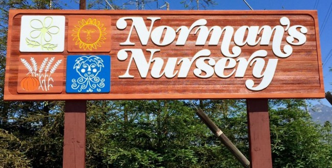 "S28025 - Large Redwood Entrance Sign for ""Norman's Garden Nursery"", with Stylized Symbols of Nature's Four Seasons"