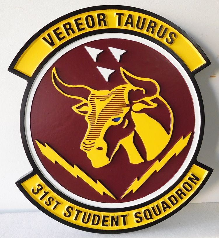 V31597 - Carved Wall Plaque of Crest for the  31st Student Squadron