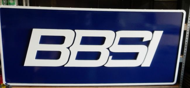 """S28088 - Carved Sign for """"BBSI"""" Company,  with Bold Outline Letters"""