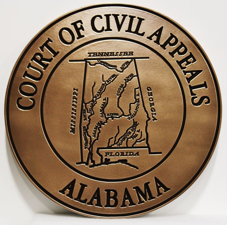GP-1057 - Engraved Plaque of the Seal of the Court of Civil Appeals, State of Alabama, Bronze-Plated