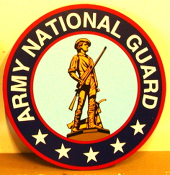 MP-1320 - Carved Plaque of the Seal  of the US Army National Guard,  Artist Painted
