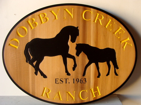 P25242 - Elliptical Engraved Cedar Horse Ranch Sign, with Mare and Colt