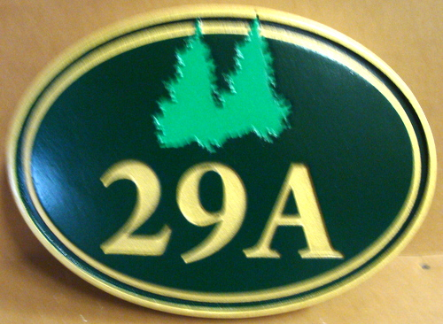 M22097 - Carved Cabin Address Number Plaque, with Fir Trees