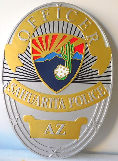 M7459 - Carved 3D Metallic Silver and Gold Painted High-Density-Urethane (HDU) Plaque of the Badge of a Police Officer in Sahuarita, Arizona