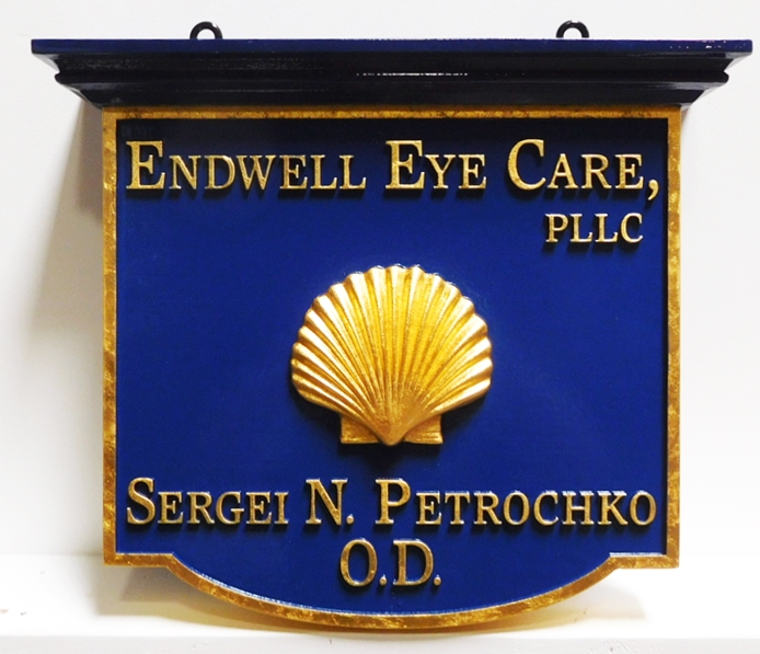 B11080 - Hanging Office Sign for Optometrist's Office with 24K Gold Leaf SignText and Border