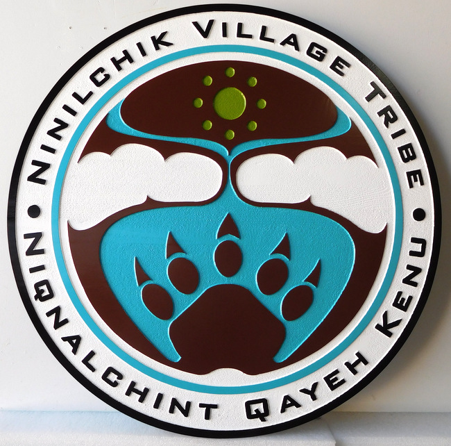 X33121 - Wall Plaque Featuring the Emblem of the Village of Ninilchik Village, Alaska, with Stylized  Bear Paw-Print, Clouds and Water as Artwork
