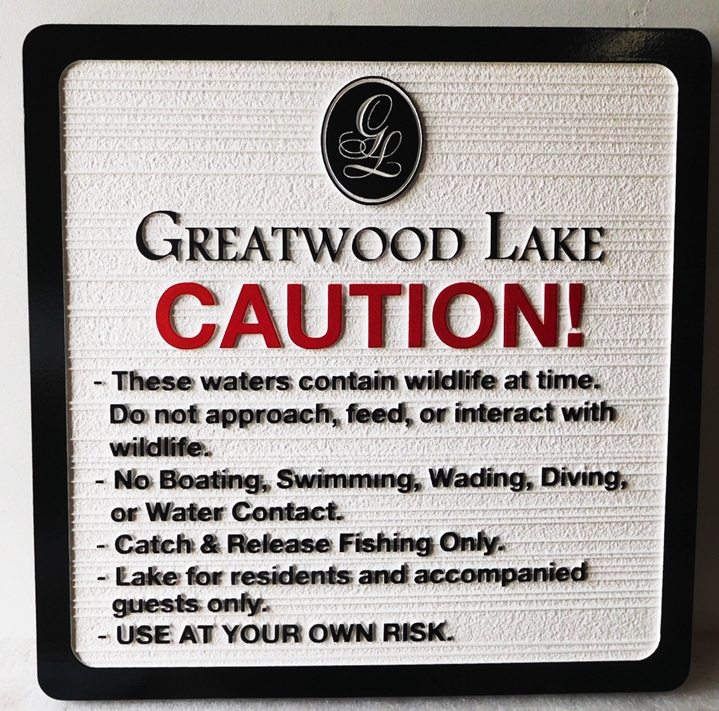 M22461 - Carved and Sandblasted Rules Sign for Greatwood Lake.
