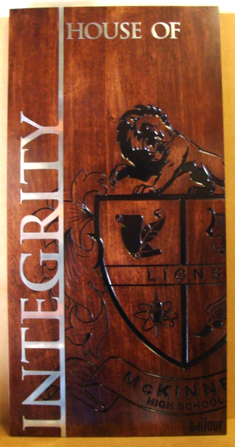FA15618 - Interior Wall  Sign for College Prep School is made of Stained American Cherry Wood with Aluminum Cladding.