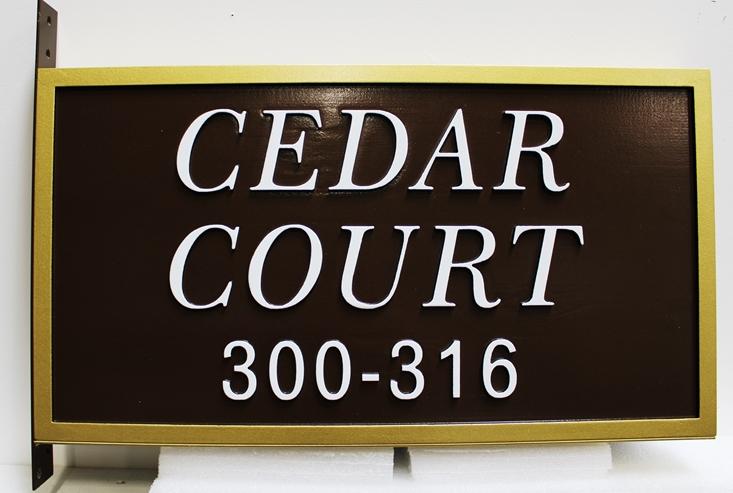 H17082 -  Carved HDU Street Name and Address Number Sign, Cedar CourtWay, with Side Bracket