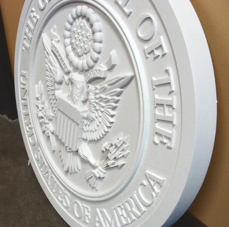 U30035 - Unpainted 3D Carved HDU US Great Seal Wall Plaque