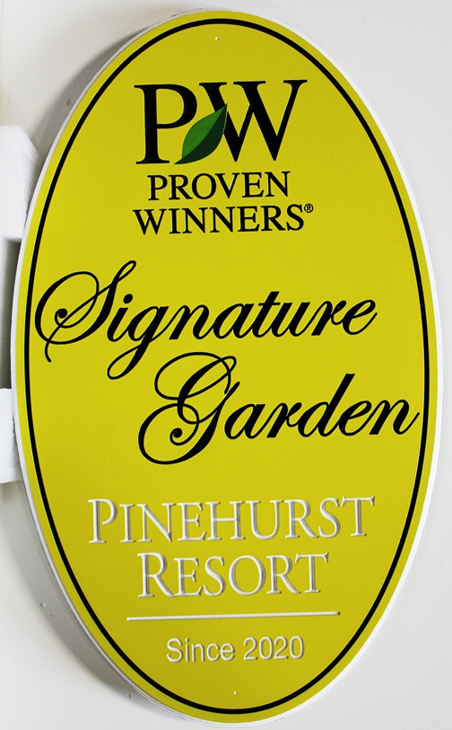 GA16477 -   Engraved  HDU  Sign was made for the Signature Garden at Pinehurst Resort