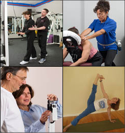 Personal Training Professionals photos of one client doing Yoga, another of a client with a nutritionist, photo of gym equipment and massage