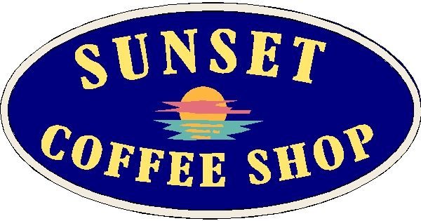 "Q25426 - Design of Wood or HDU Sign for ""Sunset Coffee House"" with Setting Sun"