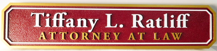 A10419 - Red, White and Gold Carved HDU Sign for Attorney Office Giving Name of Attorney