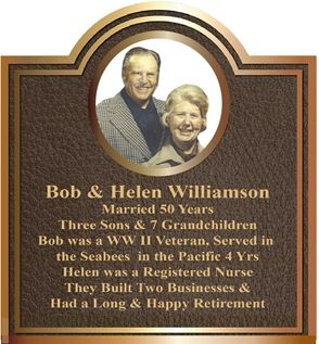 GC16520 -  Bronze Wall Plaque for  50th Anniversary of Married Couple, Bob & Helen Williamson, with Photo