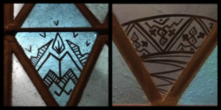 Mystery symbols on the windows of a Memorial Chapel located on the grounds of Lake Junaluska in the western mountains of North Carolina