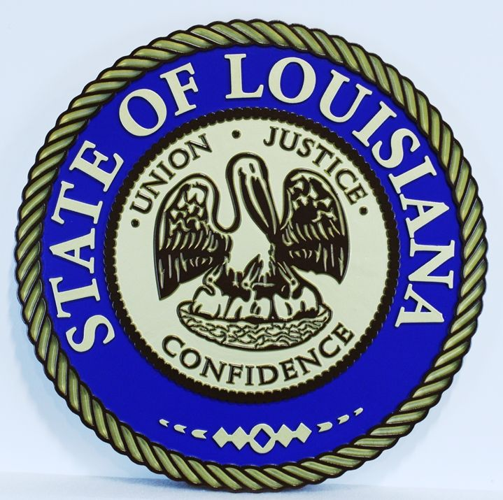 BP-1246 - Carve Plaque of The Great Seal of the State of Louisiana, 2.5-D Raised Relief, Artist-Painted