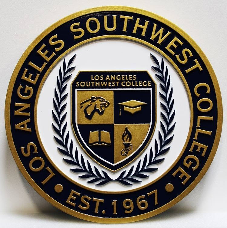 RP-1970 - Carved 2.5-D HDU Plaque of the Seal of the Los Angeles Southwest College