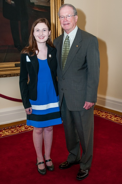 "Senate Majority Leader J.T. ""Jabo"" Waggoner congratulates Lita Waggoner"