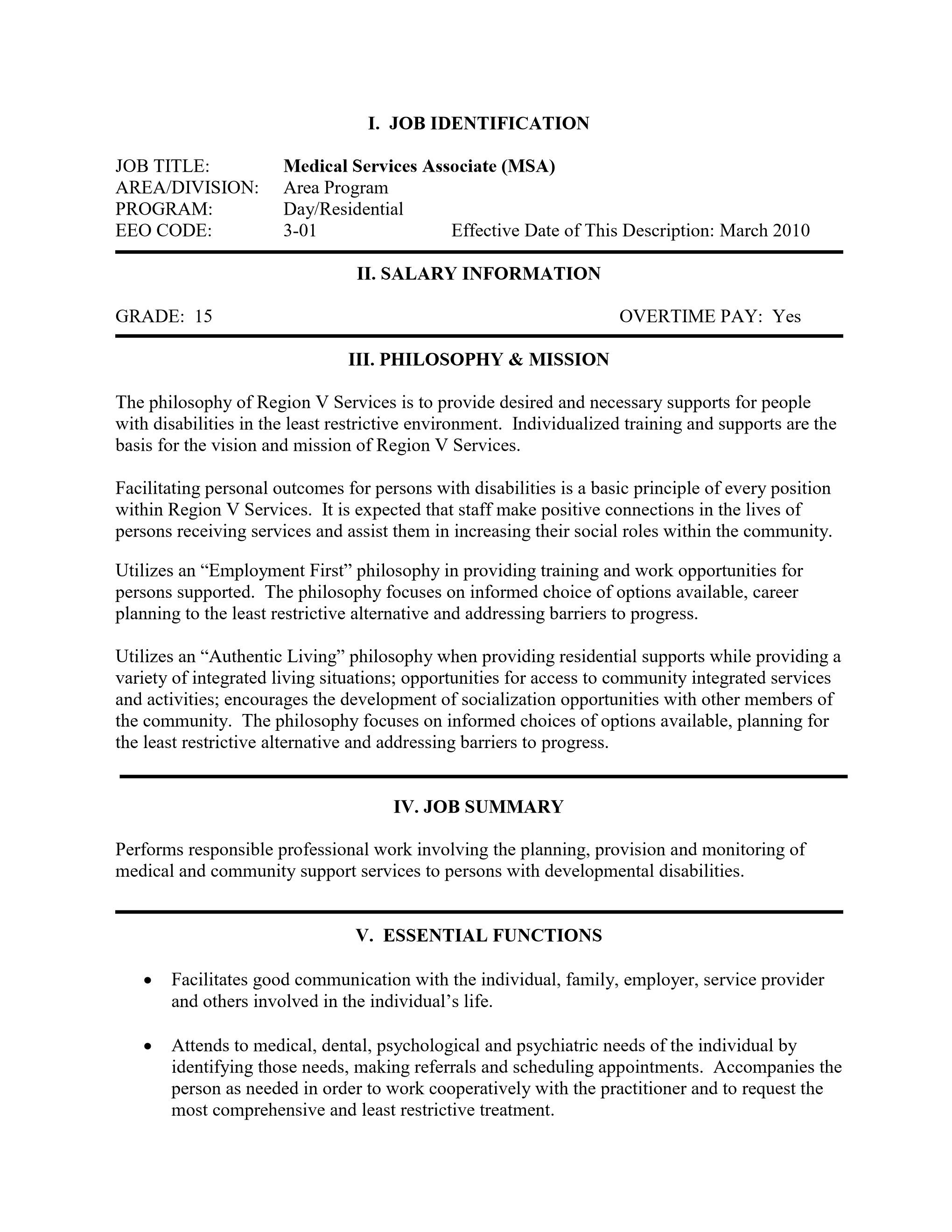 Region V Services : Medical Services Associate (MSA)