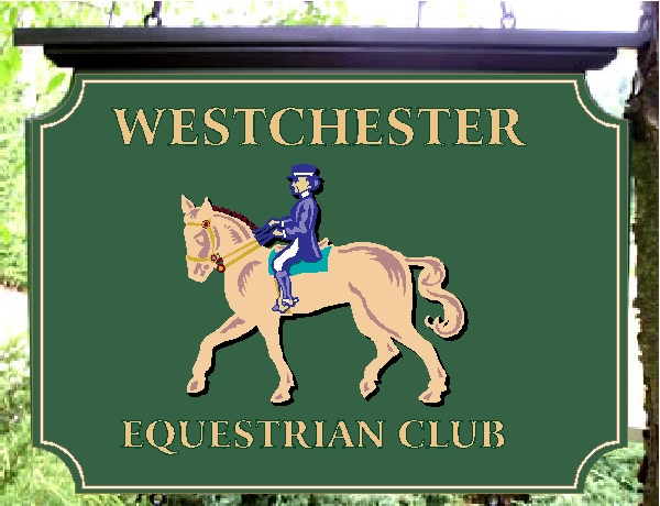 "P25076 - Carved HDU ""Westchester Equestrian Club"" Sign with Image of Horse and Rider"