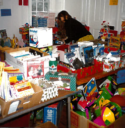 An AWP advocate organizes shelter donations.