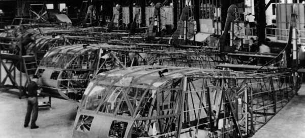 Glider fuselage construction at General Aircraft in Queens, NY.
