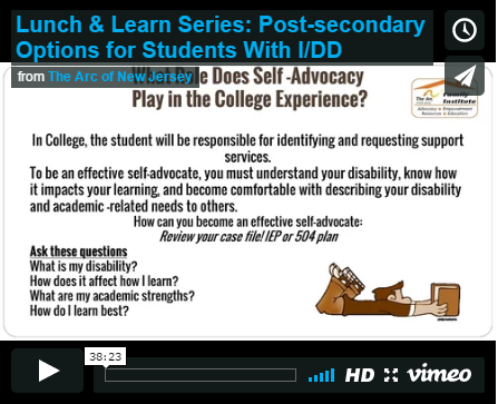 Lunch & Learn Series: Post-secondary Options for Students With I/DD